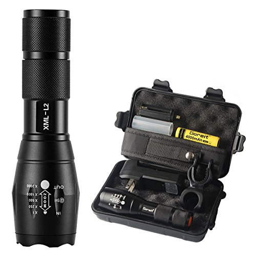 Goreit X800 Military Zoomable Ultra Bright 900 Lumens ,CREE XML T6 Rainproof Flashlight,Ajustable Focus 5 Modes,For Cycling Hiking Camping Emergency etc. (18650 AAA Battery and Charger not Included) by Goreit®