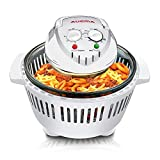 Home Kitchen Small Digital Halogen Convection Oven Cooker 12L with Lid Air Fryer Accessories Glass Bowl Timer Electric 6 in 1 Halogen Convection Oven for Baking Grill (White)