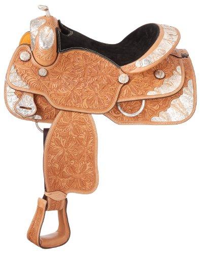 """UPC 688499510738, Tough 1 """"Copper V"""" Rio Grande Silver Show Saddle, Light Oil, 12-Inch"""