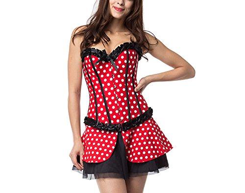 ZAMME Burlesque mujer traje Overbust cosplay corsé y vestido conjuntot Rojo dot