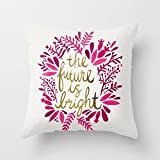 My Honey Pillow The Future Is Bright Acirc; Euro; Quot; Pink Amp; Gold Throw Pillow By Cat Coquillettefor Your Home
