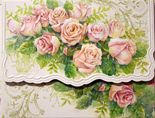 Carol S Garden: Carol's Rose Garden Wreath Portfolio Blank 10 Card Set
