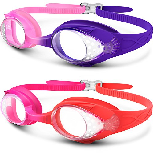 48c47851a8c OutdoorMaster Kids Swimming Goggles - Fun Fish Style Children (Age 4-12)  Leakproof Design