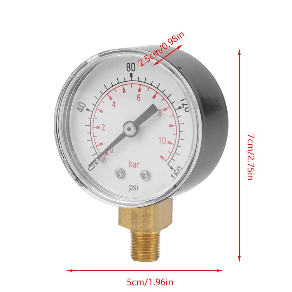 0-160psi 0-11bar Manometer Manometer f/ür Wasser Luft /Öl Zifferblatt Instrument Basis Eintrag NPT 1//8 Manometer