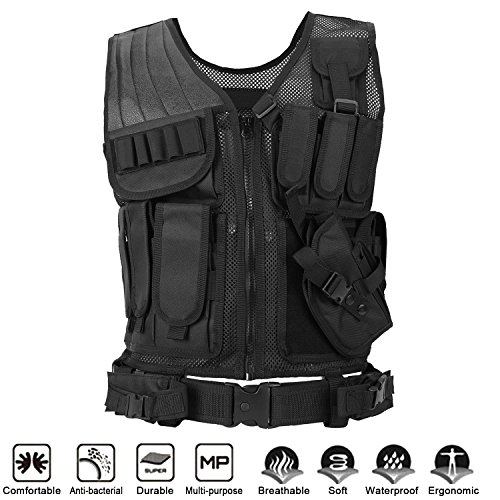Uniquebella Beathable Tactical Military Vest Adjustable Molle Velcro Combat Training Assault Vest for Outdoor Airsoft Paintball Shooting Hunting for Men & Women-Black