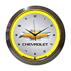 Neonetics Home Indoor Restaurant Kitchen Decorative Gm Chevrolet Yellow Neon Wall Clock