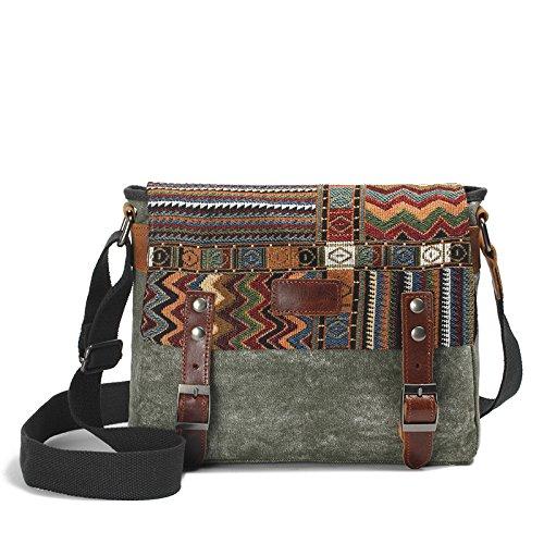 mefly el nuevo estilo folk Bolso Bandolera Messenger Bag Bolsa de lienzo caratteristiche antiusura de hombres y mujeres, verde caqui Army green