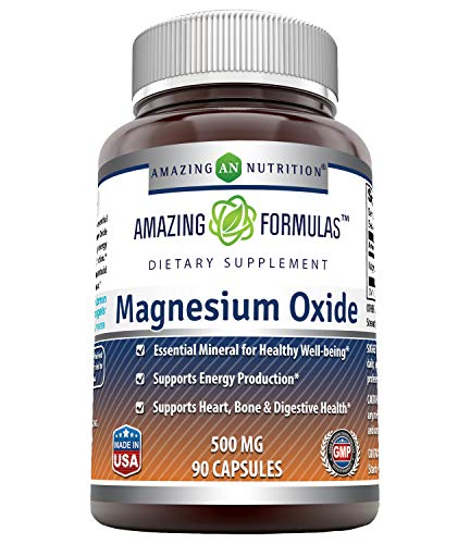 Amazing Formulas Magnesium Oxide Supplement - 500mg, 90 Capsules- Essential Mineral For Healthy Well-Being, Supports Energy Production, Supports Heart, Bone & Digestive Health