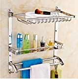 SFSYDDY-The Bathrooms Are Built-In Shelf 304 Stainless Steel Towel Rack Toilet Racks Wall Mount Towel Rack Toilet Metal Pendant With 40Cm Double Rod