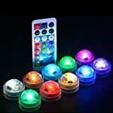 Multicolors Submersible LED Lights 13colors Change 1.2'' Mini Battery Waterproof Underwater LED Candle Tealight with Remote for Wedding Party Events Home Vase Centerpeice Decor (RGBW 10light+2 Remote)