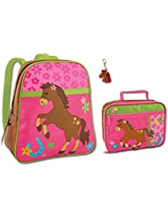 Stephen Joseph Girls Horse Backpack and Lunch Box with Zipper Pull