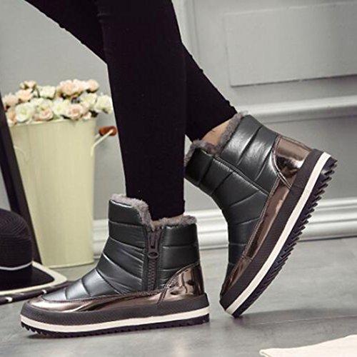 Flat COVOYYAR Dark Women's Snow Waterproof Shoes Grey Lined Fur Boots Platform Ankle x8UqvS8wrH