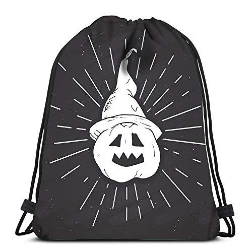 Randell Gym Drawstring Backpack Sport Bag Halloween Vintage Sketch Pumpkin Grunge Retro Badge Lightweight Shoulder Bags Travel College Rucksack for Women Men]()