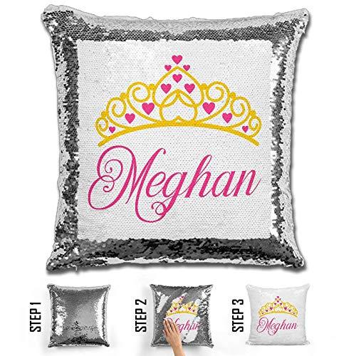 (LemonsAreBlue - Princess Crown Personalized Magic Sequin Mermaid Kid Pillow, 16