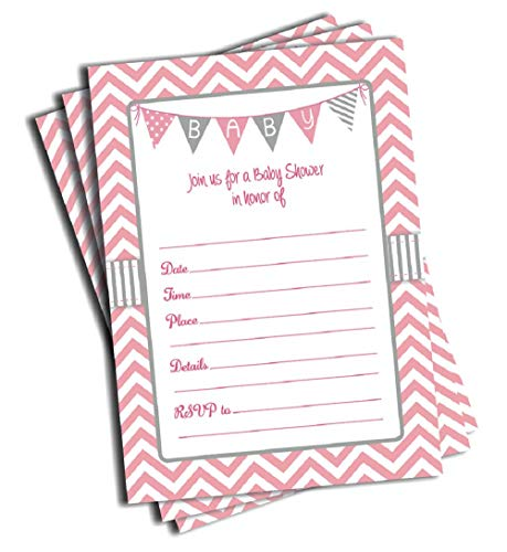 (50 Pink Girl Baby Shower Invitations and Envelopes (Large Size)
