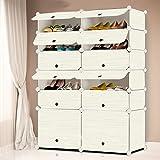 MIRUIDA17 Cubic DIY Shoe Storage Organizer Portable Shoe Storage Drawer Plastic Cabinet with Doors