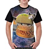Oh-HiH Men's Raglan Short Sleeve T-Shirts Taco Cat Space Casual Baseball Athletic Tee