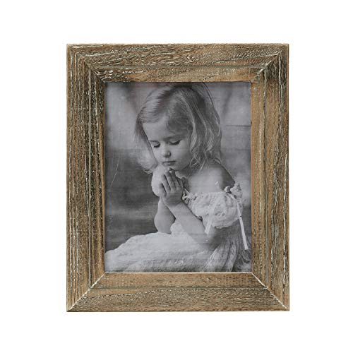 Faunlife 8x10 Rustic Shabby Chic Weathered Distressed Vintage Style Wooden Picture Frame with Self-Stand Easel Horizontally or Vertically on The Tabletop (Wooden Easel Stand For Pictures)