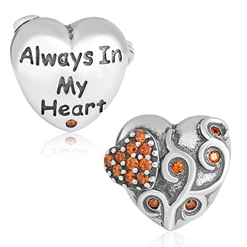 Always in my Heart Charm Solid 925 Sterling Silver Birthstone Bead for Charms Bracelet