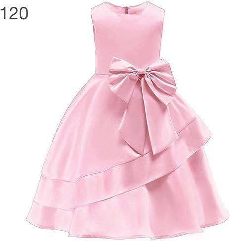 Vestido de princesa para niña de tela satinada, falda plisada con ...