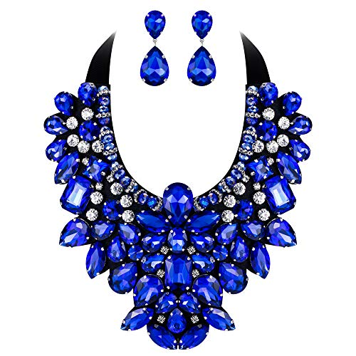 Flyonce 8 Colors Women's Stunning Crystal Costume Statement Necklace Earrings Set for Banquet, Prom Blue