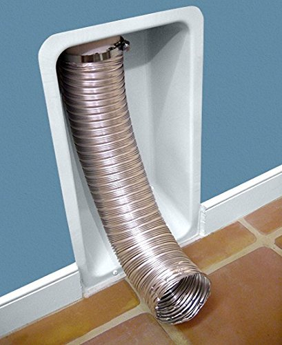 Dryerbox RB-500 Metal Retro-Fit Receptacle to House Dryers Flex Hose, White - Washer Dryer Vent