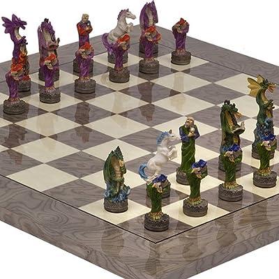 Fantasy Chessmen & Greenwich Street Chess Board From Spain.