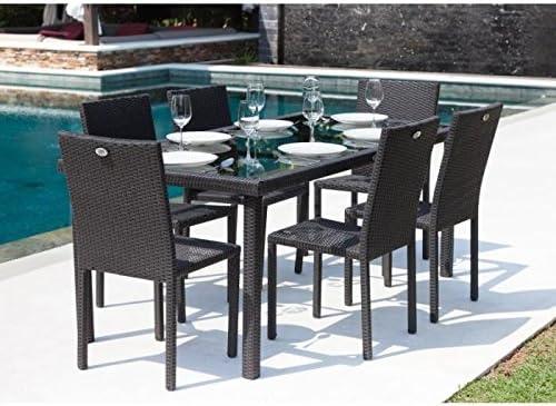 Ensemble table de jardin 180 cm et 6 chaises résine tressée gris anthracite