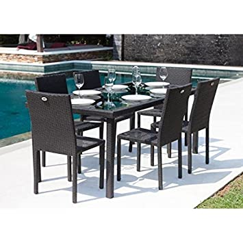 ensemble table de jardin 180 cm et 6 chaises rsine tresse gris anthracite - Table Chaise Jardin