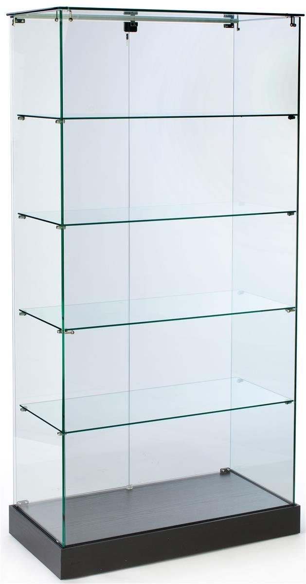 Glass Display Case And Black MDF Base - With Hidden Wheels And Hinged Locking Doors