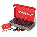 Circuit Performance Star Spline Drive Acorn Tuner Closed Ended Lug Nuts (Thin Small Diameter Tool) Set of 20, 4 Lug & 5 Lug (12x1.25, Red)