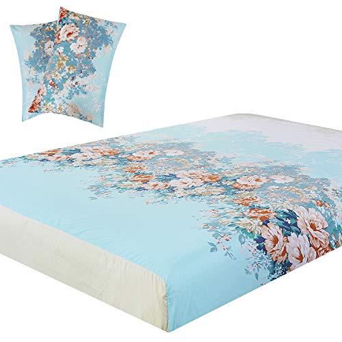 - Vaulia Lightweight Microfiber Fitted Sheet, Flower Printed Pattern, Blue Color Queen Size, 3-Piece Set
