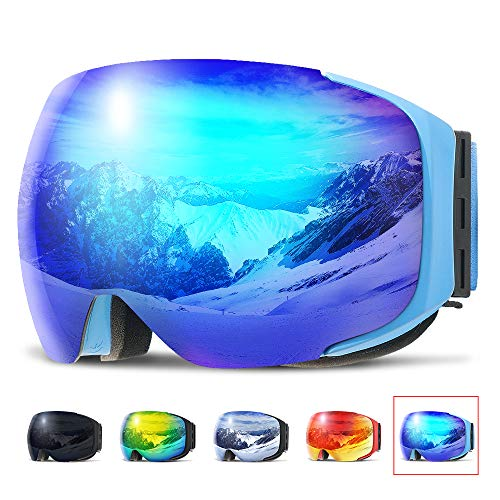 (COPOZZ Ski Goggles, G2 Magnetic Snowboard Snow Goggles -2 Seconds Quick Change Lens, Imported Double-Layer Anti Fog Lens -UV400 Over Glasses OTG Helmet Compatible - for Men Women Youth Unisex)