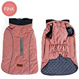 Shallnne Dog Clothes Quilted Dog Coat Water Repellent Winter Dog Pet Jacket Vest Retro Cozy Warm Pet Outfit Clothes Big Dogs,Pink,L