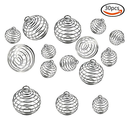 30mm Bead Chain Necklace (JPSOR 30pcs Silver Plated Spiral Bead Cages Pendants for Jewelry Making (15mm, 25mm, 30mm))