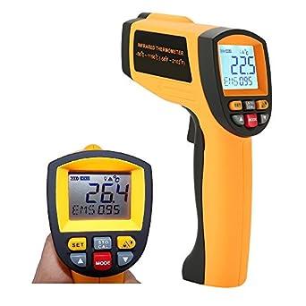 Termómetro Láser Pistola, amgaze LCD Digital termómetro de infrarrojos pirómetro punto láser Temperatura -50