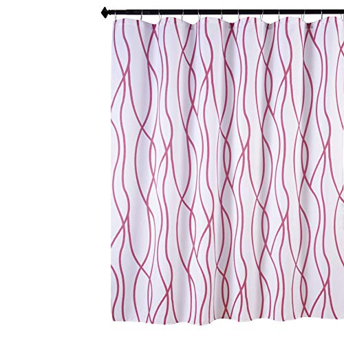 Biscaynebay Textured Fabric Shower Curtain Printed Dancing Bathroom Curtains, Red Burgundy 72 by 72 Inches (Shower Red)