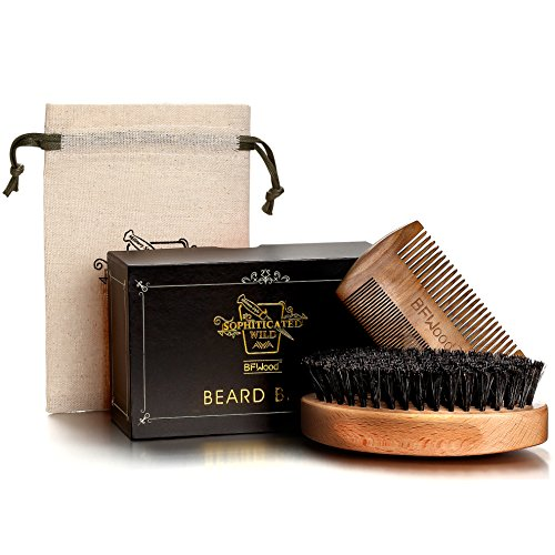 BFWood Beard Brush with Boar Bristle and Comb Set – Military Style