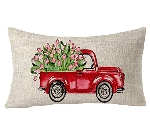 FELENIW Oil Painting Red Car Carry Tulip Flower Birthday Mother's Day Blessing Gift Cotton Linen Decorative Throw Pillow Cover Cushion Case Lumbar 12x20 inches ()