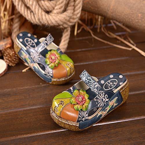 Plage Bleu Sandales Rouge Talons Bleu Femme Pour la à Fleurs Fille à Été Ville en Sabots Plates Pantoufle Clogs de Vert Compensés Gracosy Chaussures Jardin Cuir Fait à Gris Mains fCx4wztSnq