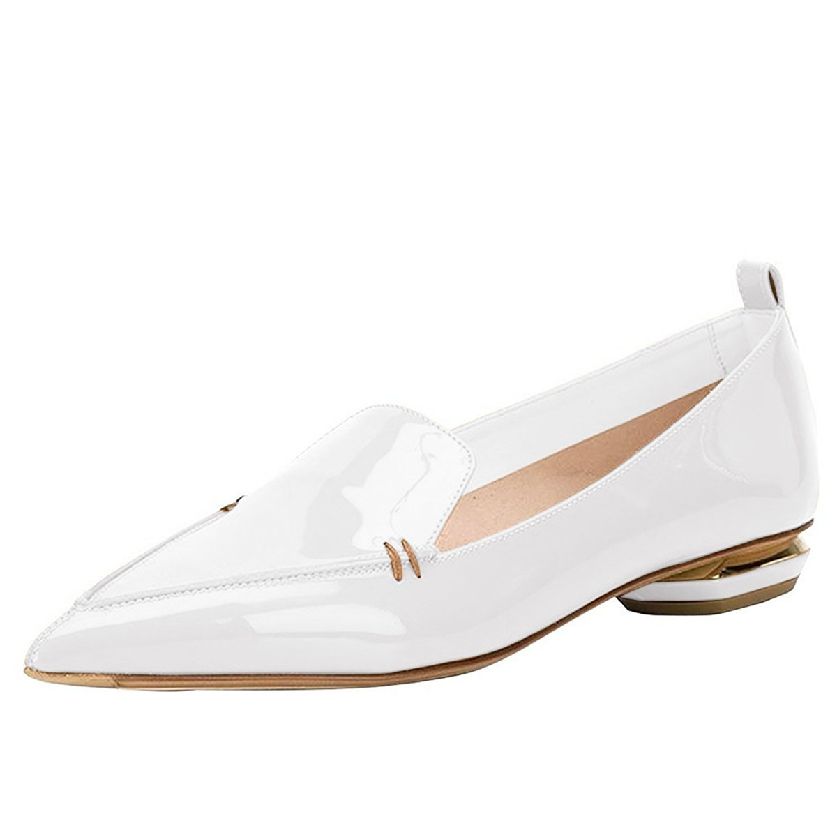 FSJ Women Fashion Pointed Toe Pumps Low Heels Casual Loafers Slip On Summer Shoes Size 9.5 White-Patent