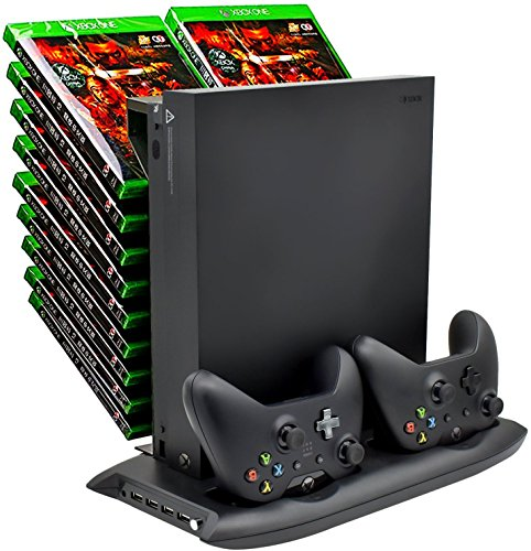 Fan Game (DACCKIT Xbox One X Vertical Stand Cooling Fan with Game Discs Storage Tower Mounts & Controller Charging Station)