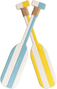 2 Pack 19.7 Inch Nautical Wooden Double Oar Decor with Rope Nautical Oar Paddles Wall Decor Door Hanging Ornament Beach Theme Home Decoration(Light Blue&Yellow)