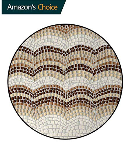 Beige Modern Machine Washable Round Bath Mat,Gradient Colored Mosaic Waves Setting Antique Roman Royal Dated Retro Patterns Non-Slip Soft Floor Mat Home Decor Diameter-39 Inch,Beige Tan Brown ()