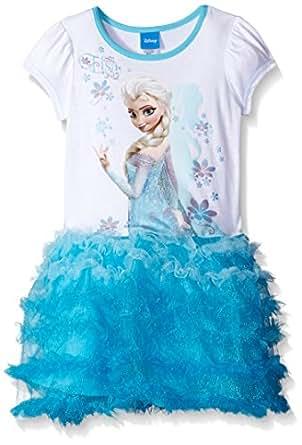 Disney Little Girls' Frozen Elsa Tutu Dress, White, Medium/5/6