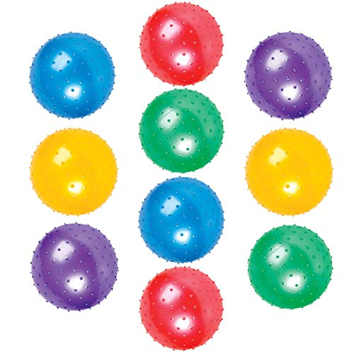 Kicko 10 Pack Knobby Balls 7-Inch - Assorted Colors. Sold Deflated - Sports Game, Fun, Play Outdoor - for Kids, Teens and Adults