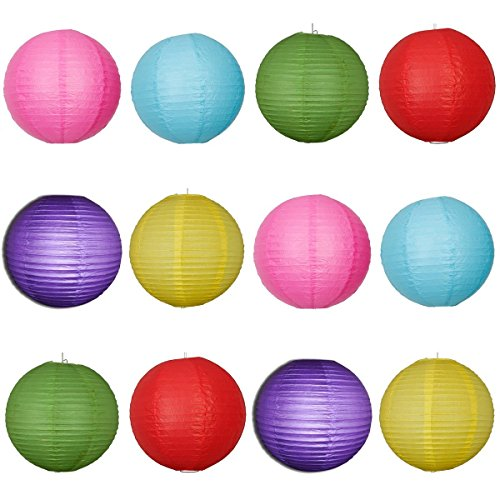 Pcu Color - SHINA 12pc 20cm Round Paper Lanterns with Wire Ribbing 6 Colors