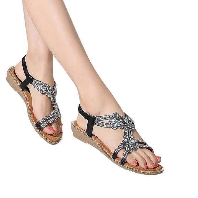 e92c0131b6c ABsolute Sandalias Sandalias Bohemia Mujer Planas de Cristal con Flores de Mujer  Zapatos de Playa Casual para Mujer Sandalias Mujer Verano 2019 Planas ...