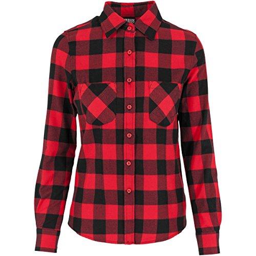 URBAN CLASSICS LADIES CHECKED FLANNEL SHIRT WOMEN LUMBERJACK SHIRT, Größe:XL;Farbe:black/red Black Checked Flannel