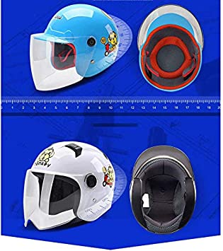 Color : A Kinder Elektrische Motorrad Helm Batterie Auto M/änner Und Frauen Kinder Vier Jahreszeiten Universal Winter Helm Cartoon Niedlich